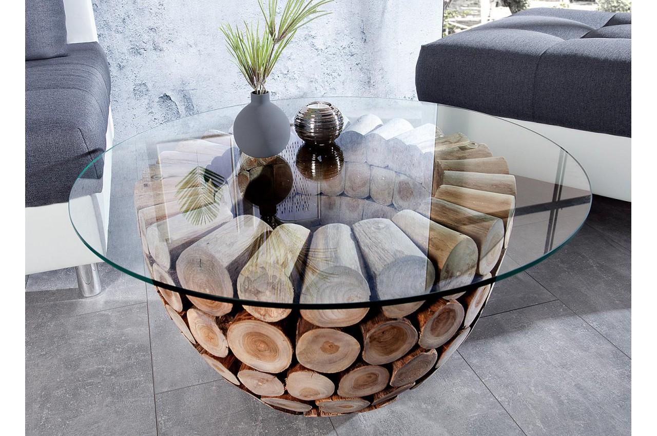 Table basse ronde industrielle en bois massif avec piétement