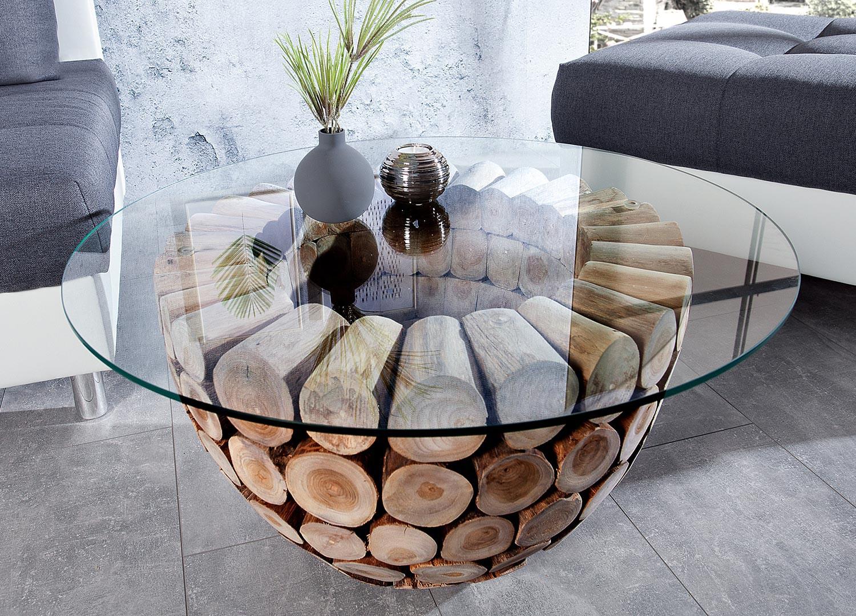 Table Basse Ronde Originale Bois Et Verre Pour Salon