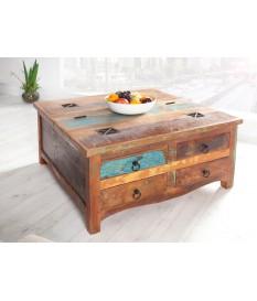 Table basse industriel en bois recyclé