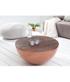Table basse ronde - Alu cuivré et bois