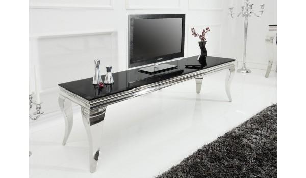 Meuble TV baroque verre et métal chromé 160 cm