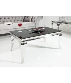 Table basse baroque noire et métal chromé rectangulaire