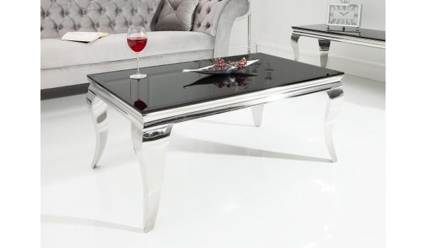 Table basse baroque verre et métal chromé rectangulaire