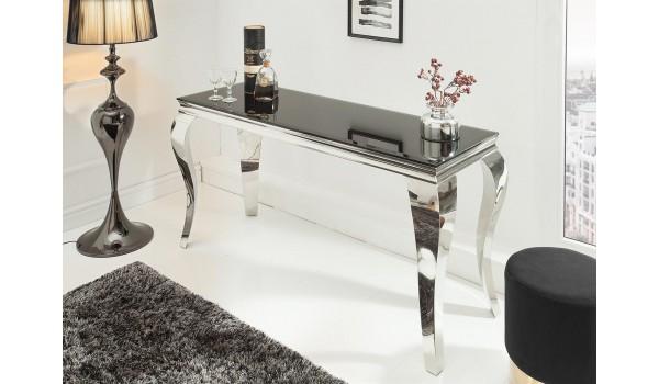 Table console baroque verre et métal chromé
