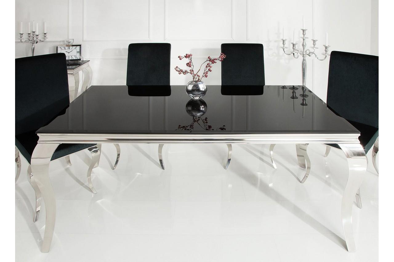 Table de salle à manger baroque noire et métal chromé pour ...