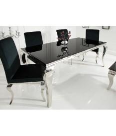 Table de salle à manger baroque verre et métal chromé