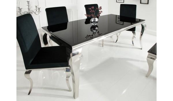 Table de salle à manger baroque noire et métal chromé