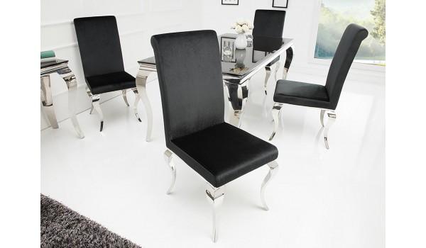 Chaises baroque velours noir et métal chromé