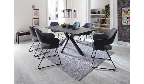 Table design en céramique et piétement métal noir design