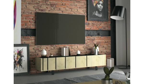 Meuble TV contemporain 3 portes décor chêne et noir ardoise