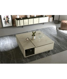 Table basse contemporaine relevable décor chêne et noir ardoise