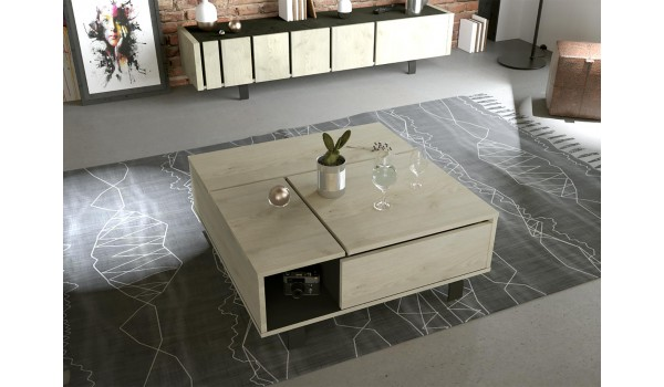 Table Basse Contemporaine Relevable Decor Chene Et Noir Ardoise