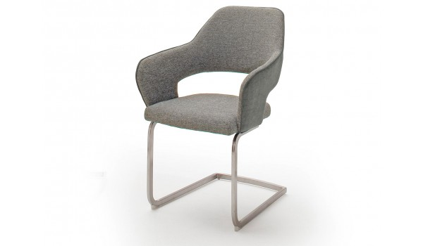 Chaise design capitonnée en tissu avec accoudoir