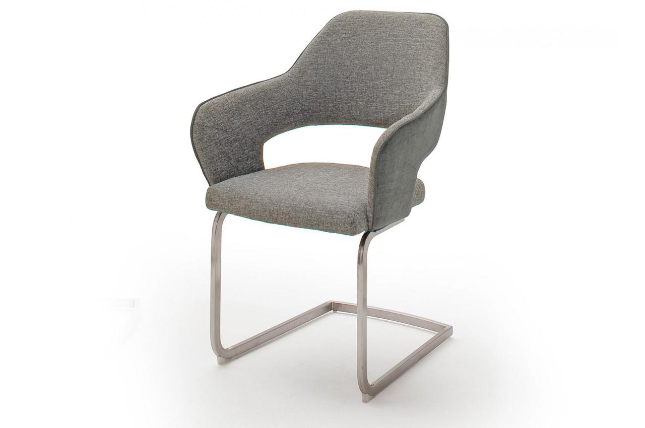 Chaise design capitonn e en tissu avec accoudoir pour salle manger - Chaise salle a manger avec accoudoir ...