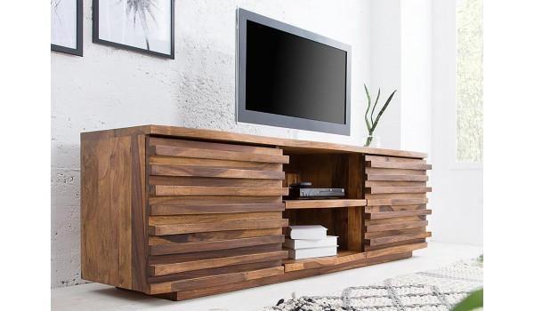 Meuble TV bois 150 cm - Sesham massif verni
