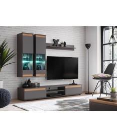 Meuble TV et vitrine mural - Gris/Bois