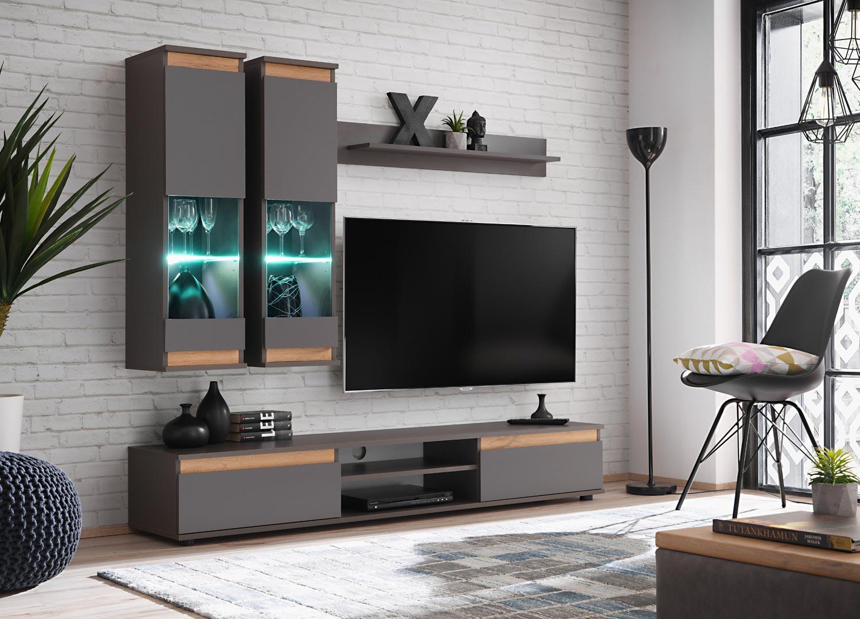 Meuble Tv Pour Coin meuble tv et vitrine murale - gris/bois pour salon