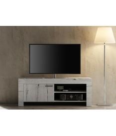Meuble TV déco chêne blanc 140 cm