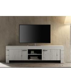 Meuble TV déco chêne blanc 180 cm