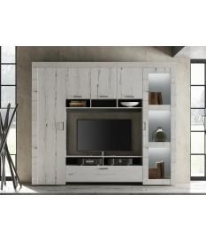 Meuble TV living déco chêne blanc