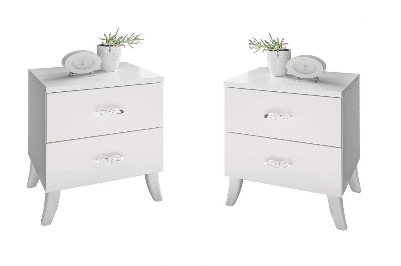 Table De Chevet Miroir Pas Cher tables de chevets blanches - 2 tiroirs pour chambre adulte