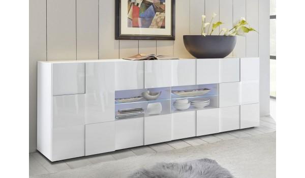 Buffet blanc laqué design - 2 Portes, 4 tiroirs, 2 niches