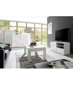 Salon complet blanc laqué - Meuble TV, table basse, commode haute