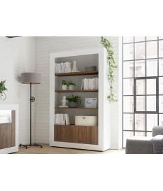 Bibliothèque blanche et bois avec rangement fermé