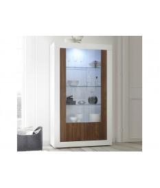 Meuble vitrine blanche et bois