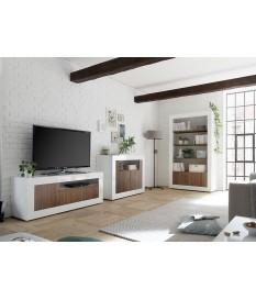 Salon complet blanc / bois - Meuble TV, commode, bibliothèque étagère