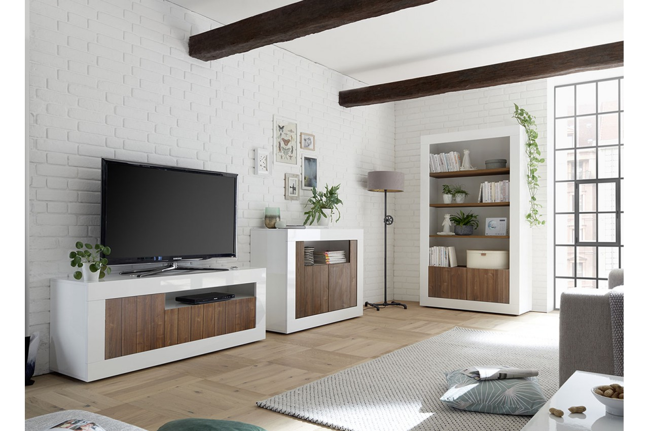 Meuble Tv Avec Bibliothèque salon complet blanc / bois - meuble tv, commode