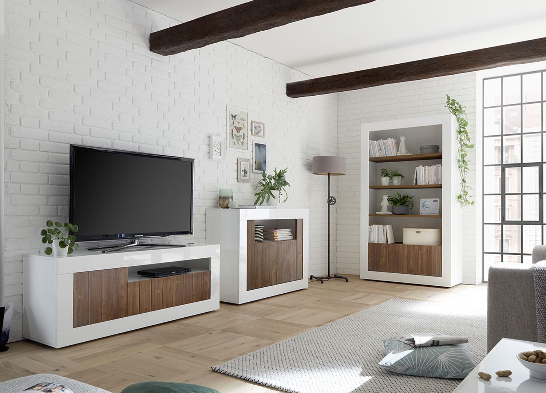 Meuble Tv Bibliothèque Blanc salon complet blanc / bois - meuble tv, commode