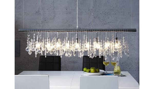 Luminaire suspendu réglable - Cristal & métal chromé