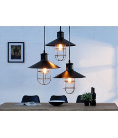 Lampe à suspension noire style usine