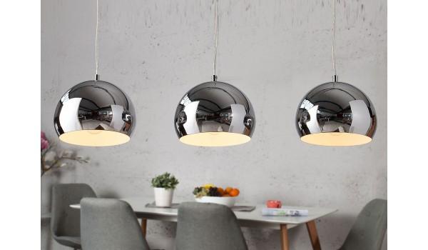 Lampe à suspension 3 boules chromés
