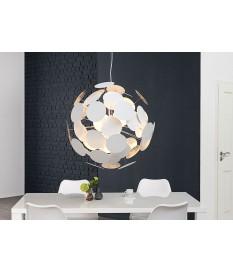 Luminaire design blanc et argent Ø 70 cm