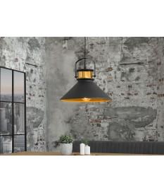 Luminaire industriel acier gris et doré