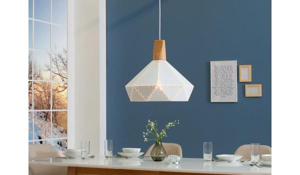 Luminaire design blanc et bois