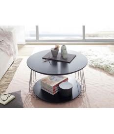 Table basse ronde - Noire et Métal