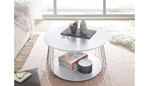 Table basse ronde - Blanche et métal