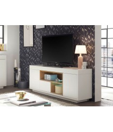 Meuble TV blanc et bois design