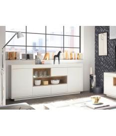 Buffet blanc laqué mat et bois design