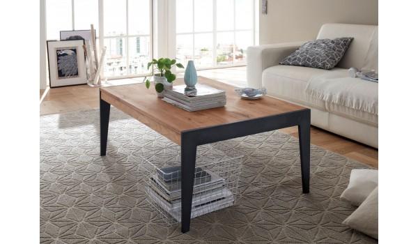 Table rectangulaire en bois et métal