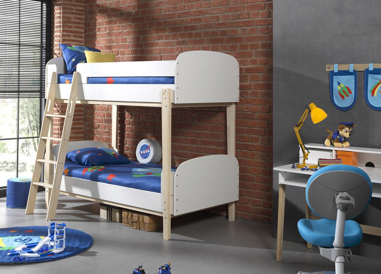 Lit Mezzanine 3 Ans lit superposé blanc et bois pour chambre enfant & ado