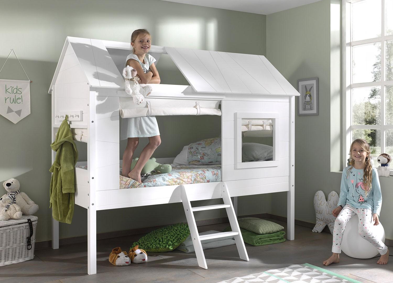 Lit Mi Hauteur Blanc Theme Cabane Pour Chambre Enfant Ado