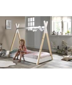 Lit tente tipi blanc - Sommier 70x140 cm