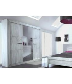 Armoire de Chambre 3 Portes avec Miroir Moderne