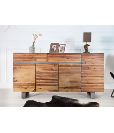 Buffet en bois d'acacia massif - 4 portes, 2 tiroirs