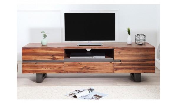 Meuble TV en bois d'acacia massif - 1 porte, 3 tiroirs