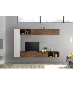 Meuble TV mural blanc et bois